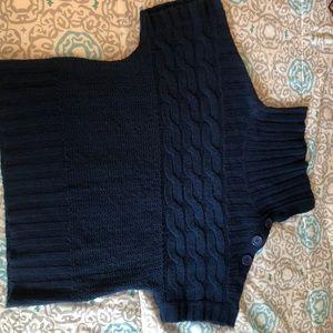 Blue cowl neck button sweater